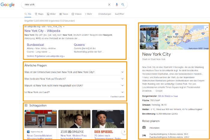 Formen von Googleergebnissen im Suchmaschinenmarketing